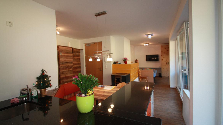 Küche mit Ansicht Wohnschlafbereich